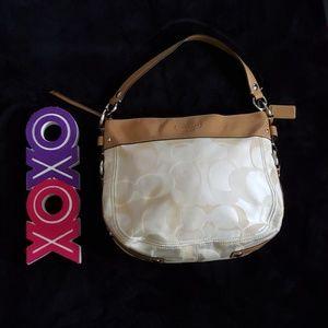 COACH tan & creme zoe optic signature hobo bag